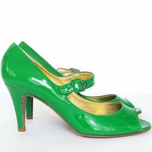 J. Crew Patent Leather Peep Toe Mary Janes